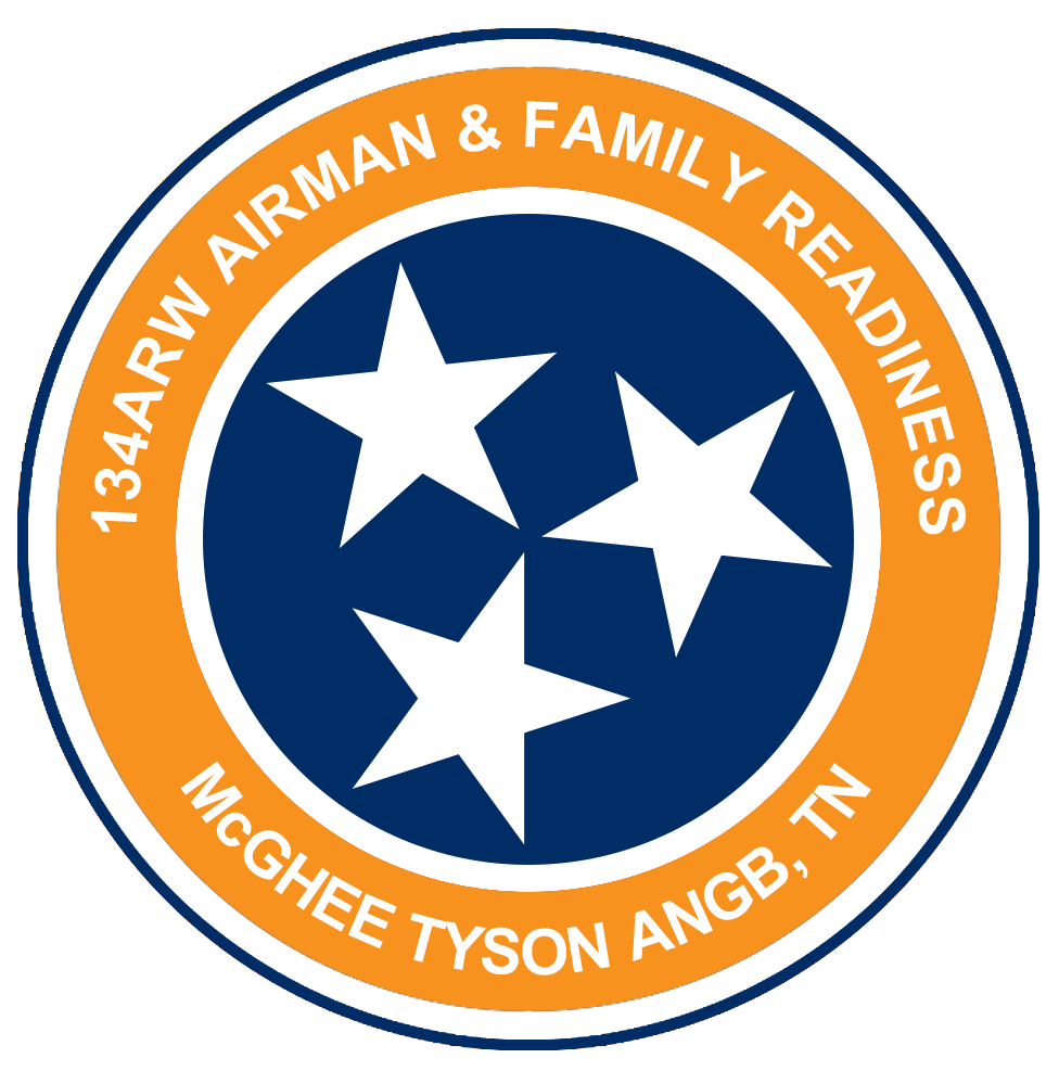 Orange and blue circle with three white stars and the text '134 ARW Airman and Family Readiness McGhee Tyson ANGB, TN'